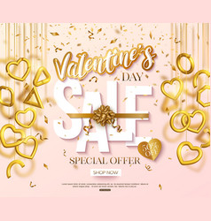 valentines day sale banner design with hanging 3d vector image