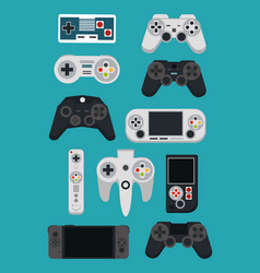 Videogame gamepads and consoles vector