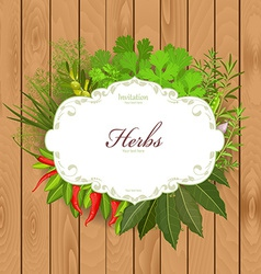 Vintage card with herbs and spices on a wooden vector image