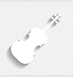 violin sign white icon with vector image