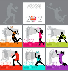 Volleyball moments 2012 calendar template vector