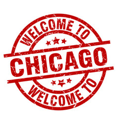 Welcome to chicago red stamp vector