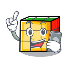 With phone rubik cube character cartoon vector