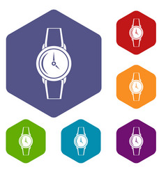 Wristwatch icons set hexagon vector
