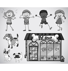 Children and pet vector image