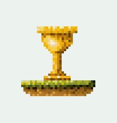 color pixelated golden trophy in meadow vector image vector image