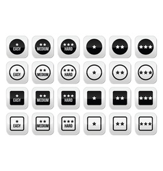 Easy medium hard level with stars buttons set vector image