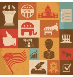 Retro political election campaign icons set vector image