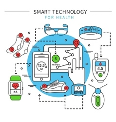Smart Technology Line Composition vector image vector image