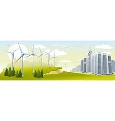 Wind turbine park vector image vector image