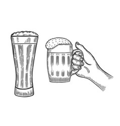 beer glasses mug vector image vector image