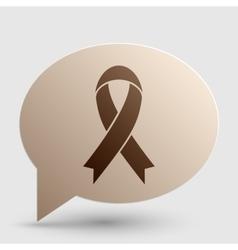 Black awareness ribbon sign Brown gradient icon vector image vector image