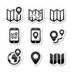 Map travel icons set vector image
