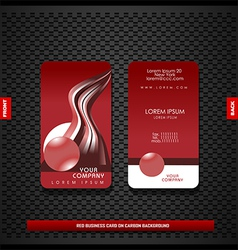 Red business card on carbon background vector image