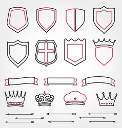 Set line shields heraldic crowns ribbons ar vector image vector image