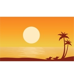 Silhouette of beach on orange backgrounds vector image