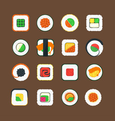 sushi color icons set vector image
