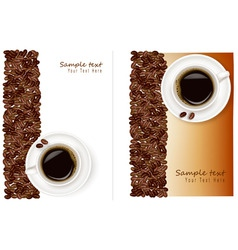 two desings with bean and coffee vector image vector image