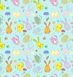 catsrabbits flowers pattern background vector image vector image