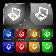 Laptop icon sign Set of ten colorful buttons with vector image vector image