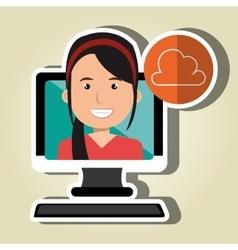 social marketing user desktop computer isolated vector image vector image