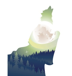 Wolf Howling in the Night Forest2 vector image vector image