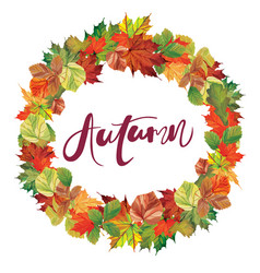 autumnal round frame with lettering vector image