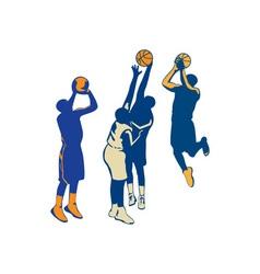 Basketball Player Shoot Ball Retro Collection vector image vector image