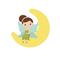 Cartoon fairy sitting on the moon cartoon fairy vector