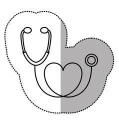 contour black sticker stethoscope with heart icon vector image