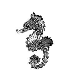 Hand drawn sea horse zentangle style vector image vector image
