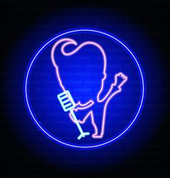karaoke neon sign vector image