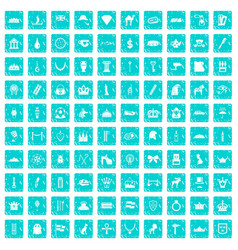 100 crown icons set grunge blue vector