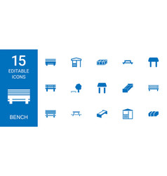 15 bench icons vector