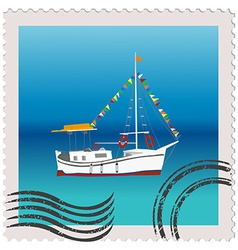 A postage stamp with sailing ship vector