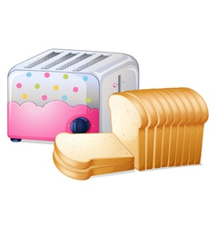 An oven toaster and slices breads vector