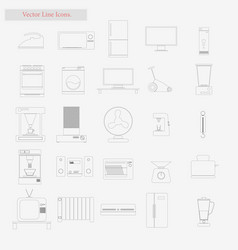 appliances set style line icons on white vector image