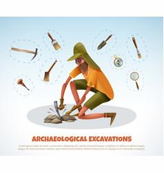 Archeological digging doodle background vector