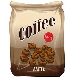 Bag of coffee latte vector