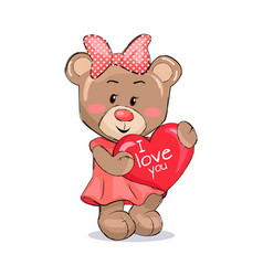 Bear female holding red heart with text i love you vector