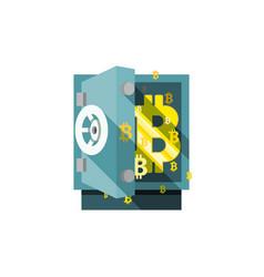 bitcoin safe armored box flat stile icon vector image