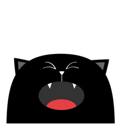 Black cat face head silhouette screaming crying vector