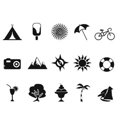 Black summer icons set vector