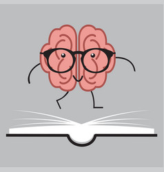 brain with glasses and book human design vector image