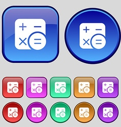 Calculator icon sign A set of twelve vintage vector
