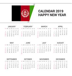 Calendar 2019 afghanistan flag background english vector
