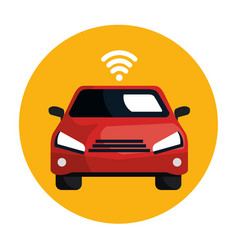 Car with wifi signal vector