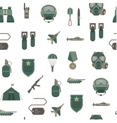 cartoon color army weapons seamless pattern vector image