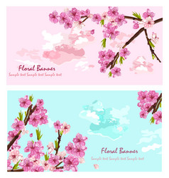 Cherry flowers cards spring layer vector