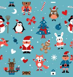christmas characters pattern santa gingerbread vector image